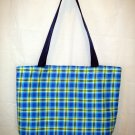 Large Tote - Webbing Handles - Blue Green Plaid