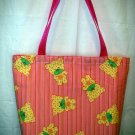 Large Tote - Webbing Handles - Pink Striped with Yellow Bears