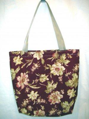 Large Tote - Webbing Handles - Burgundy Floral