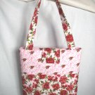 Structured Medium Tote, Diaper bag, Knit or Sew Tote, Carry all - Deep Red Watercolor Flowers