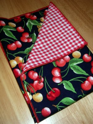 Checks and Cherries - Double Sided Cloth Napkins - Set of 4