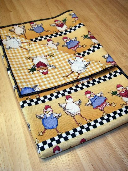 Chicken Dance - Yellow - Double Sided Cloth Napkins - Set of 4