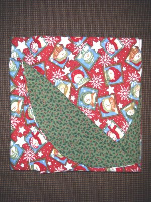 """Double Flannel Blanket - Snowmen & Holly - 52"""" x 40"""""""