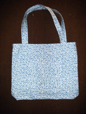 Large Tote - Blue with White Swirls - Fabric Handles
