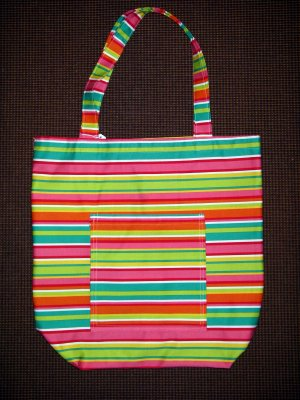 XL Tote - Sherbert Colored Stripes - Fabric Handles