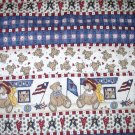 "Patriotic Bear Quilt - Muted red, cream, blue - 45"" x 52"""