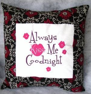 Always Kiss Me Goodnight Embroidered Pillow