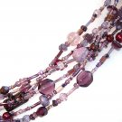 Six Strand Glass Bead Necklace - Purple hues