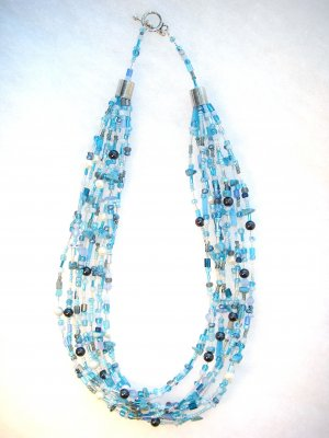 Nine Strand Glass Bead Necklace - Blue mix