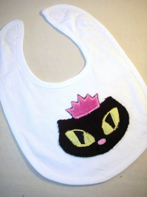 Plush Sassy Kitty Applique Baby Bib