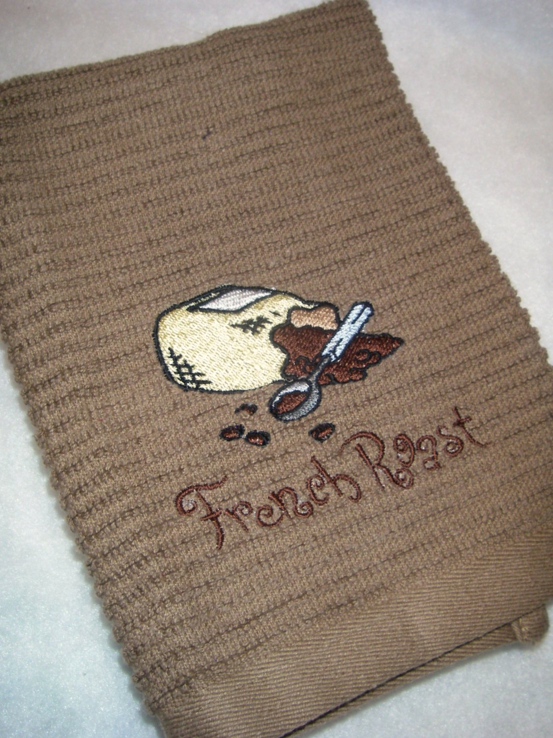 French Roast Coffee Bag - Embroidered Hand Towel