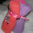 Washcloths Zoo Animals - Set of 3 - Pink, Salmon, Lavendar - Embroidered