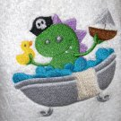 Hoodie Bath Towel - Pirate Monster in the Tub - White Towel