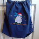 Snowman skiing drawstring backpack bag