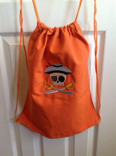 Pirate skully drawstring backpack bag