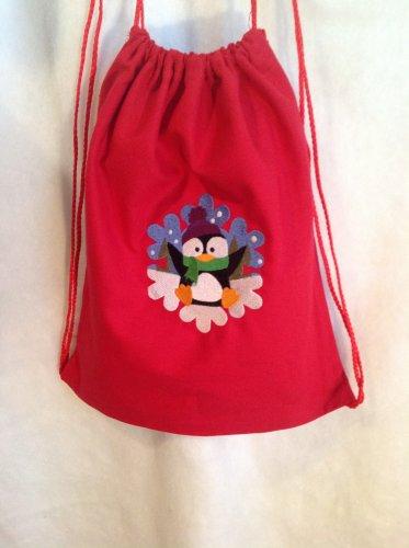 Penguin in snowflake drawstring backpack bag