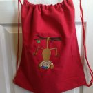 Little Mister Monkey hanging around drawstring backpack bag