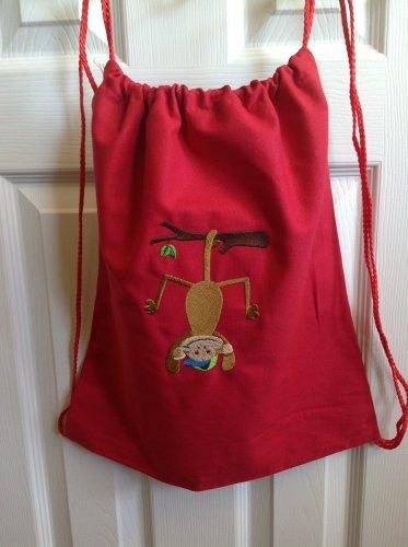 Little Mister Monkey hanging around drawstring backpack bag