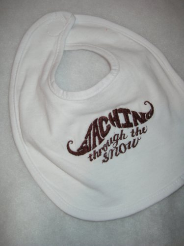 Staching through the snow embroidered Baby Bib - Brown lettering