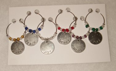 Holiday Word Wine Charms - Set of 6 - Bright Colored Beads