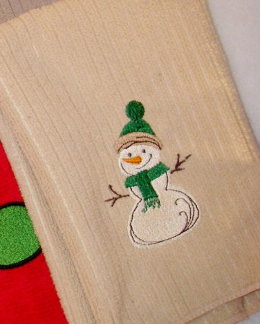 Snowman on Tan Microfiber Towel - Green Hat and Scarf - Embroidered Hand Towel