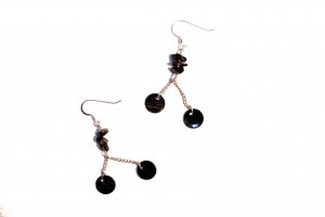 Glass Rock and Natural Shell Drop Earrings - Black