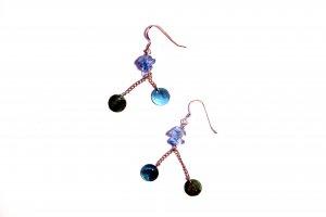 Glass Rock and Natural Shell Drop Earrings - Aquamarine
