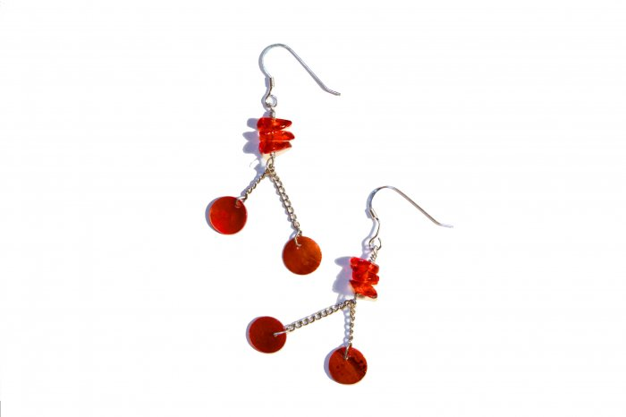 Glass Rock and Natural Shell Drop Earrings - Red