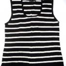 Pre-owned YUKA Women's Black and White Stripe Sleeveless Top Size 1X