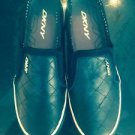 NWOB DKNY Black Quilted Leather Slip on Sneaker Fashion SZ 7.5 M