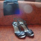 Authentic Chanel T-Strap Black Leather Kitten Heel Sandals