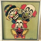 Vintage Needlepoint 3 Clown Picture Kitsch Kids Decorative