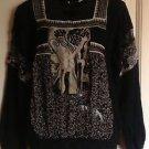 NWOT Jean Paul Gaultier Maille  Black & White Carre Long Sleeve Blouson Sz  S