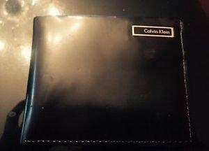 NEW Vintage Calvin Klein Vinyl Black Genuine Leather Bifold  Wallet