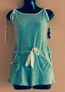 NWT Tokidoki Baby Blue Terry Cloth w/ White Piping Cotton Blend Playsuit SZ S