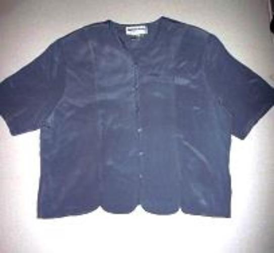 Pre-owned GALINDA WANG Women's Light Blue Short Sleeve Silk Blouse Size 18W