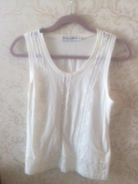 DOLCE & GABBANA 100% Cotton White Tank Top Crochet Lace Inset SZ IT 44 US 10
