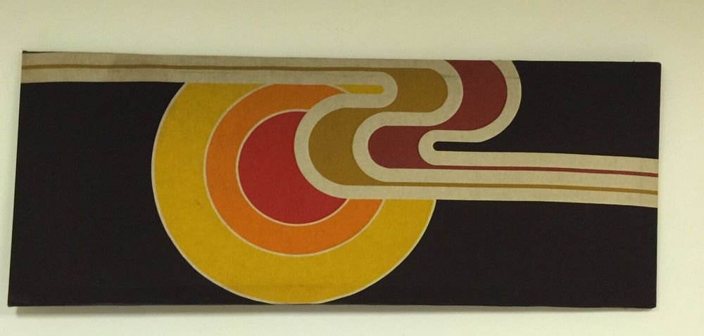 VTG 1960s MCM  Fabric Abstract Art Yellow, Red, Orange, Black SZ Large