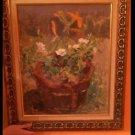 VTG Floral Oil Painting Still Life in Wooden Frame 1972 Shabby Chic