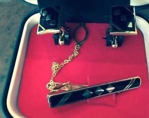 EUC Black and Gold Geometric Shape Cuff Links & Tie Clasp 24KGF