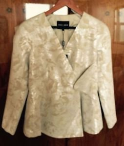 NWT Giorgio Armani Cream, beige & Silver Abstract Pattern Blazer Jacket Sz US 6