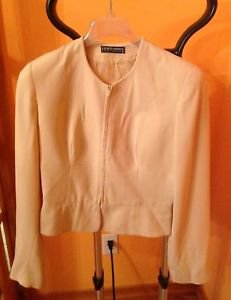 VTG Giorgio Armani Beige Collarless Jacket 100% Pure New Wool SZ S Made in Italy