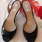 NWOB Max Mara Black Patent Leather Peeptoe Slingback Sandals SZ 37 Made in Italy