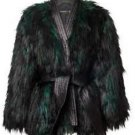 NWT H&M x Balmain Green & Black Faux Fur & Leather Jacket SZ US 8/EUR 38