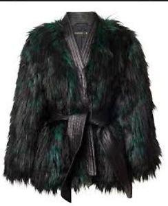 NWT H&M x Balmain Green & Black Faux Fur & Leather Jacket SZ US 8/EUR 38