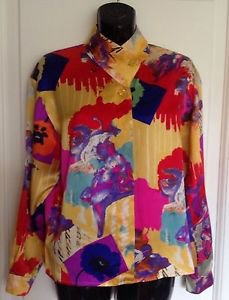 True Vintage UNGARO PARALLELE Paris Multicolor Mandarin Collar Silk Shirt SZ 4