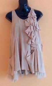 EUC Derek Lam New York Peach 100% Silk Ruffled Sleeveless Blouse SZ 2