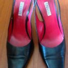 Barneys New York Black Leather Slingbacks Heels SZ 36 Made in Italy