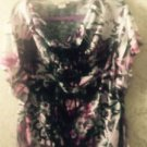 NWOT ONEWORLD Multicolor Pink, Black, White Cowlneck Blouse SZ XL