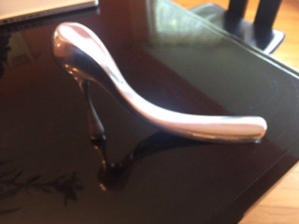 MANOLO BLAHNIK Silver Metallic Shoe Horn Display Art Piece Storefront Display